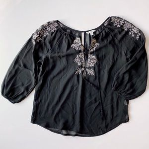 American Eagle Blouse Sheer Black Lace Overlay Tie